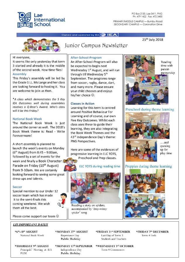 Primary Newsletter 180725