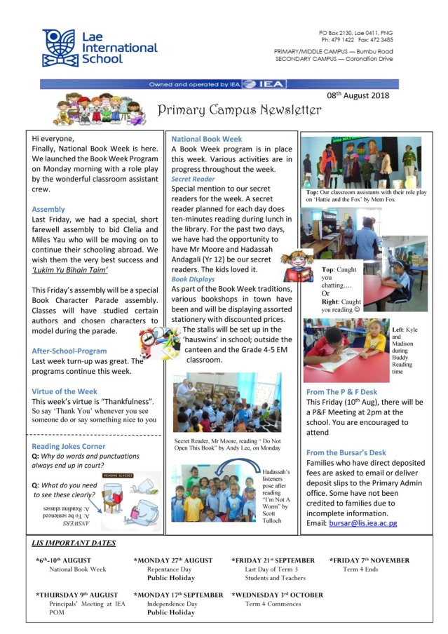 Primary Newsletter 180808