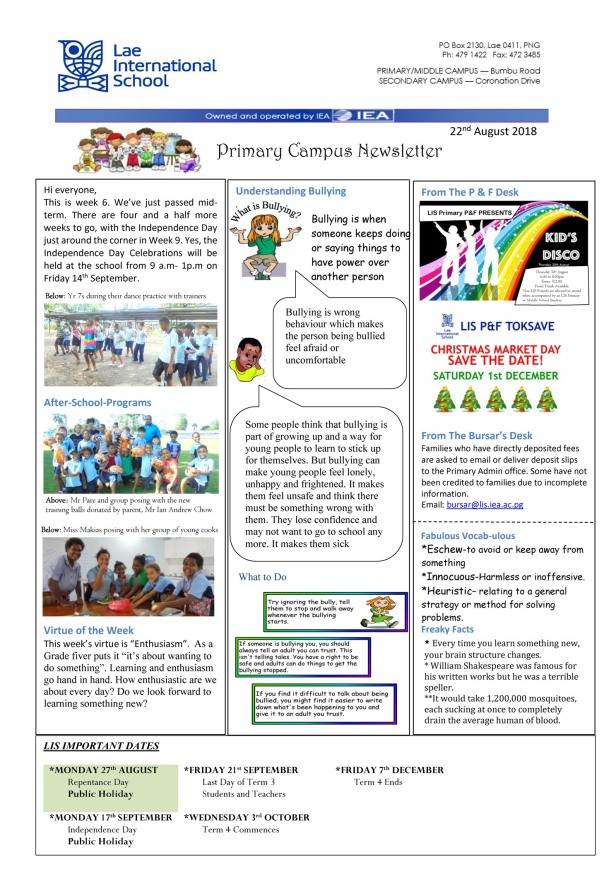 Primary Newsletter 180822
