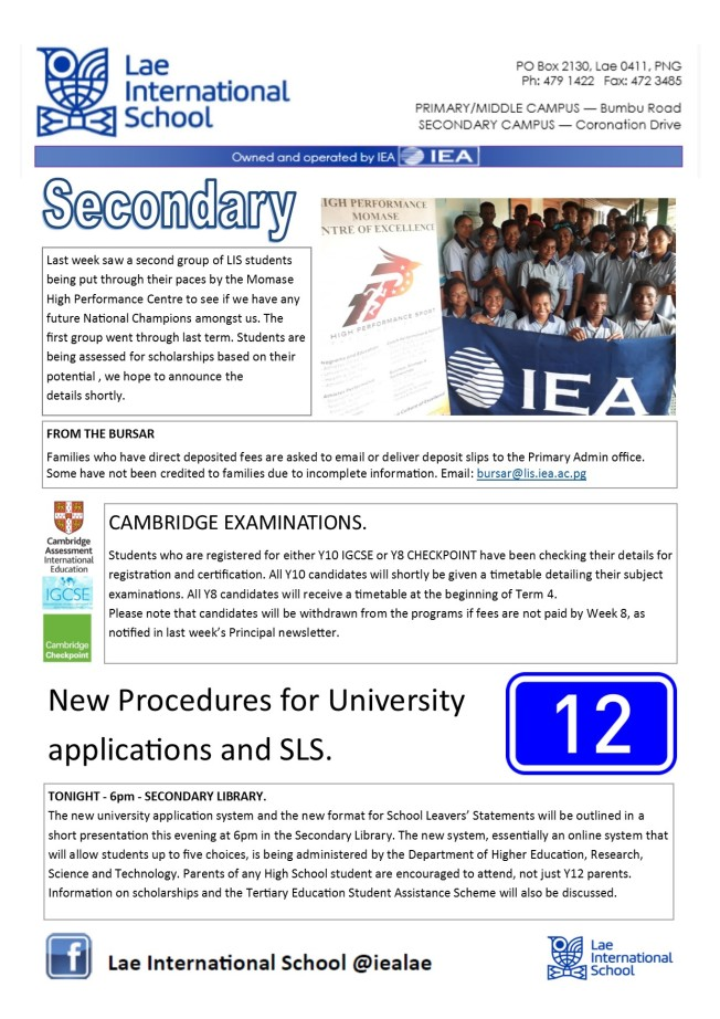 Secondary Newsletter 180808